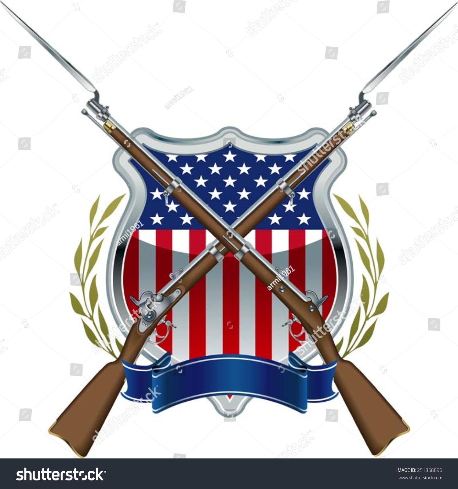 American Civil War Union Badge Musket Stock Vector
