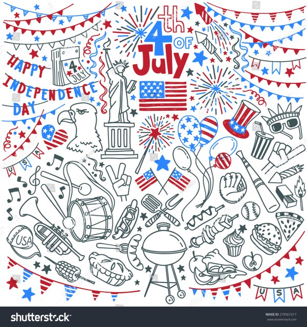 American Independence Day Themed Doodle Set Stock Vector ...