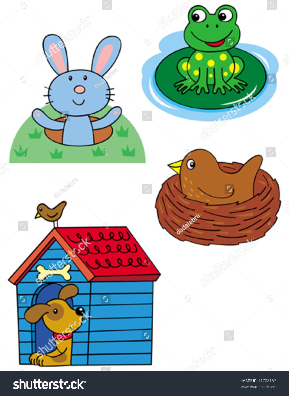 Animal Homes Rabbit Frog Bird Dog Stock Vector