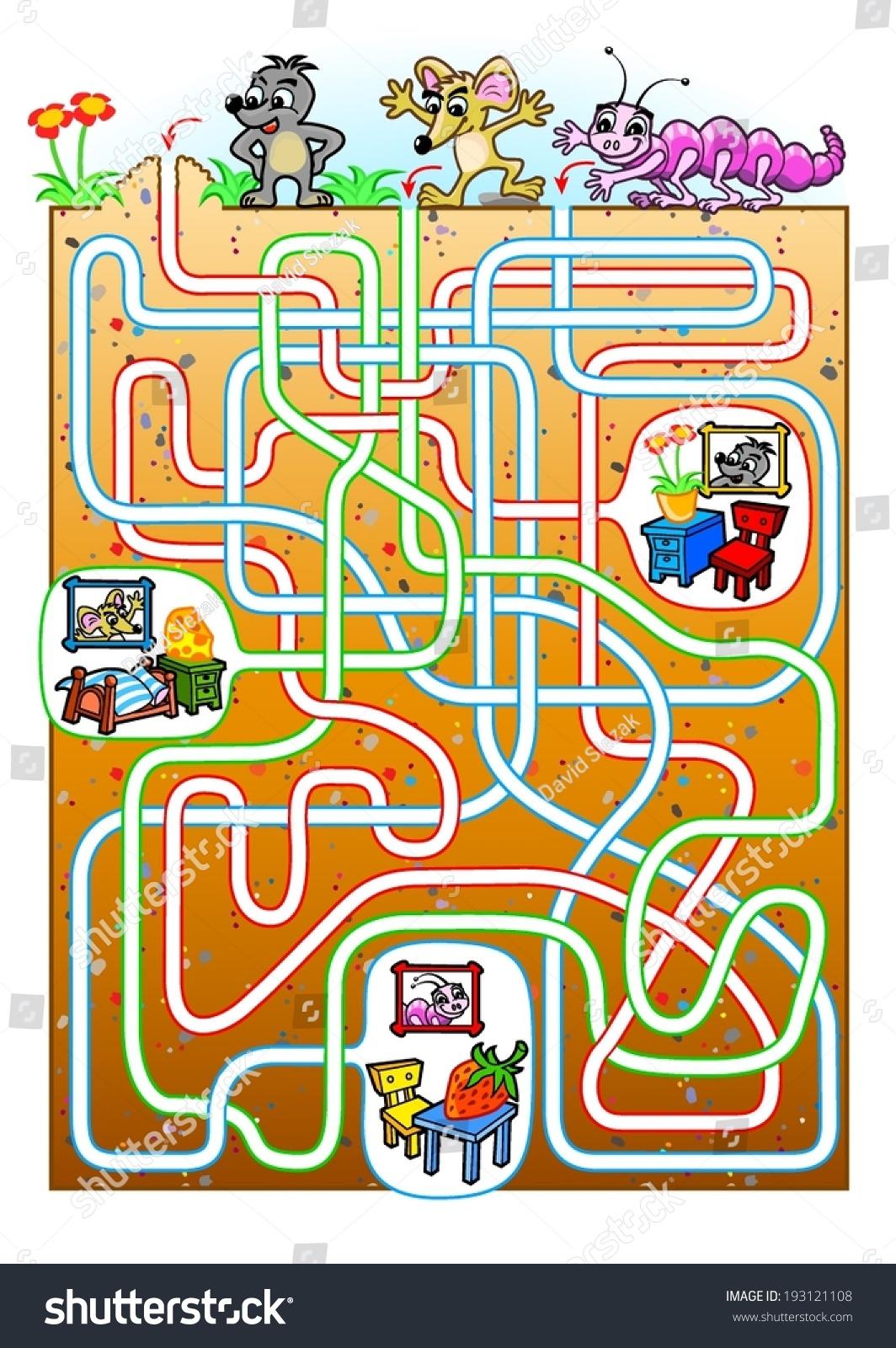 Animals Maze Kids Find Burrow Animals Stock Vector