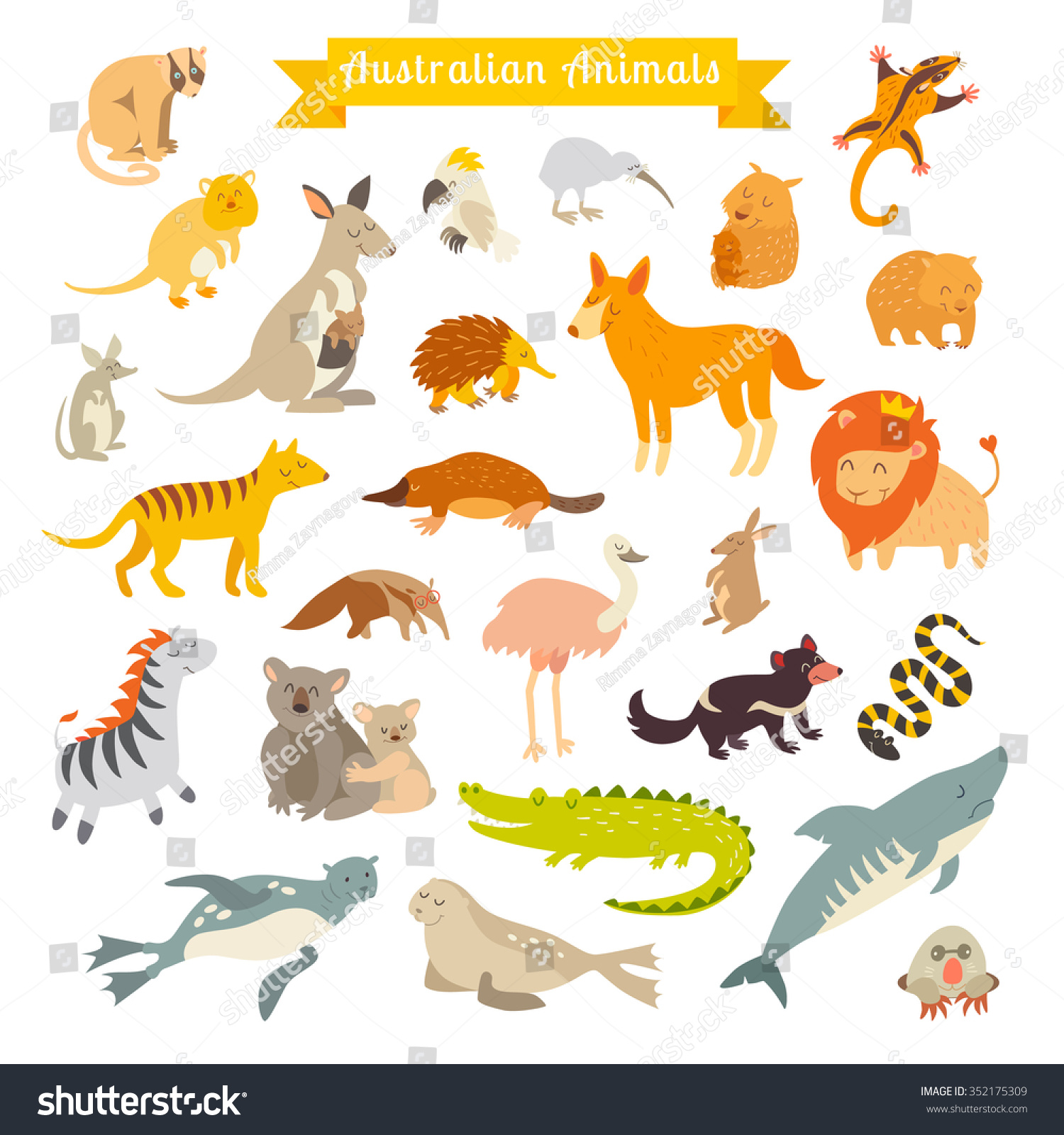 Animals World Map Australia Vector Illustration