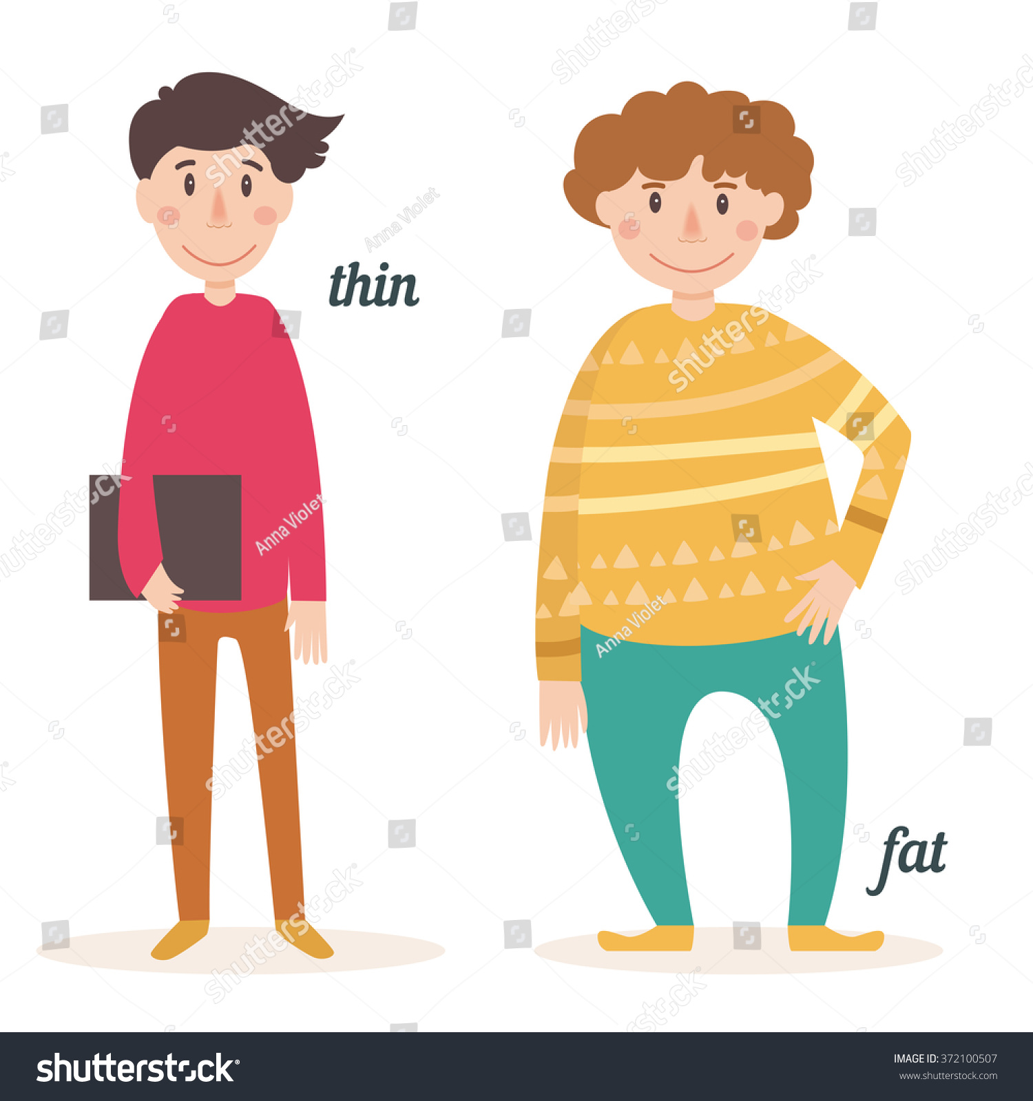 Antonyms People Fat Thin Card Children Stock Vector