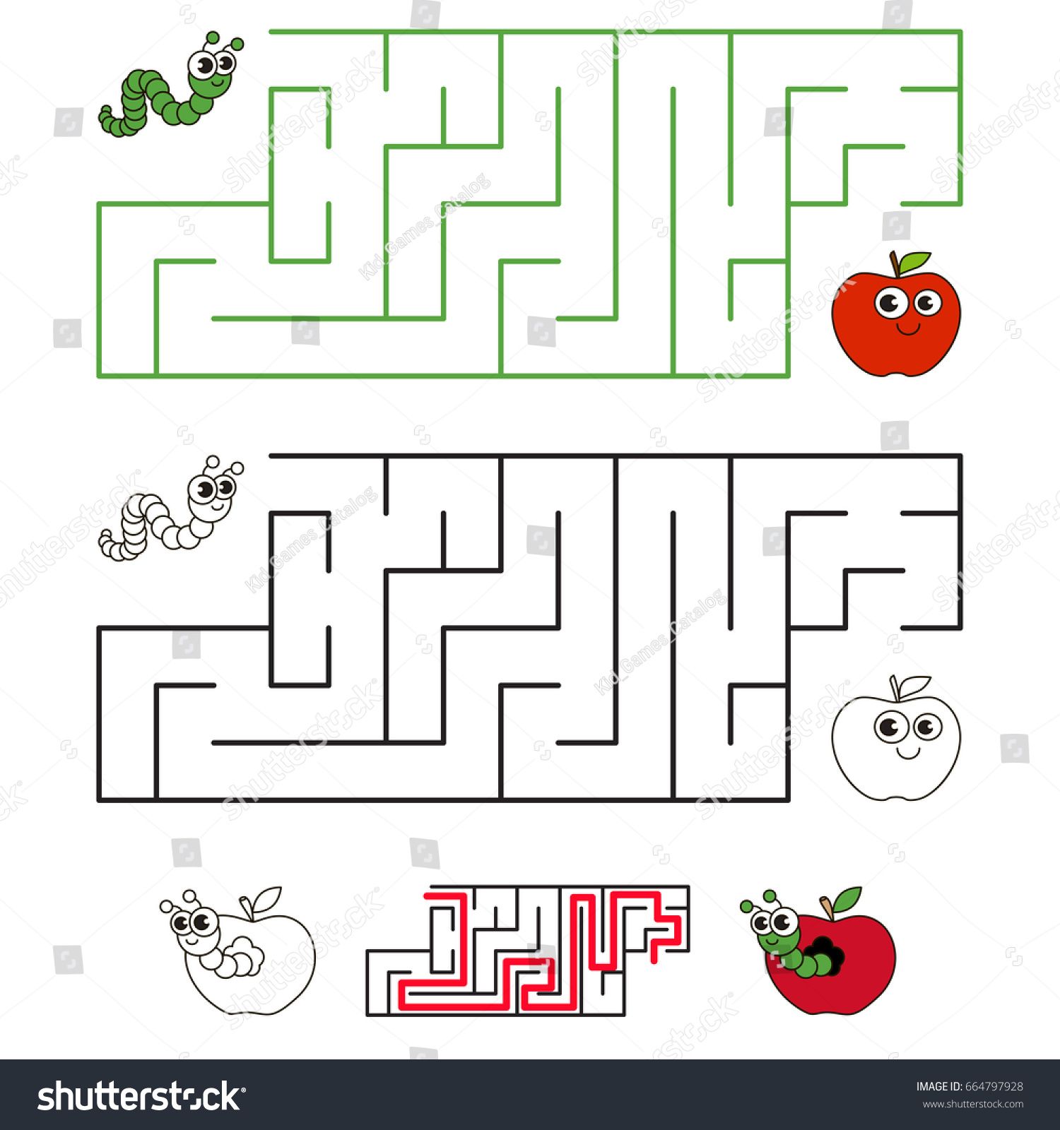 Apple Worm Pest Labyrinth Simple Horizontal Stock Vector