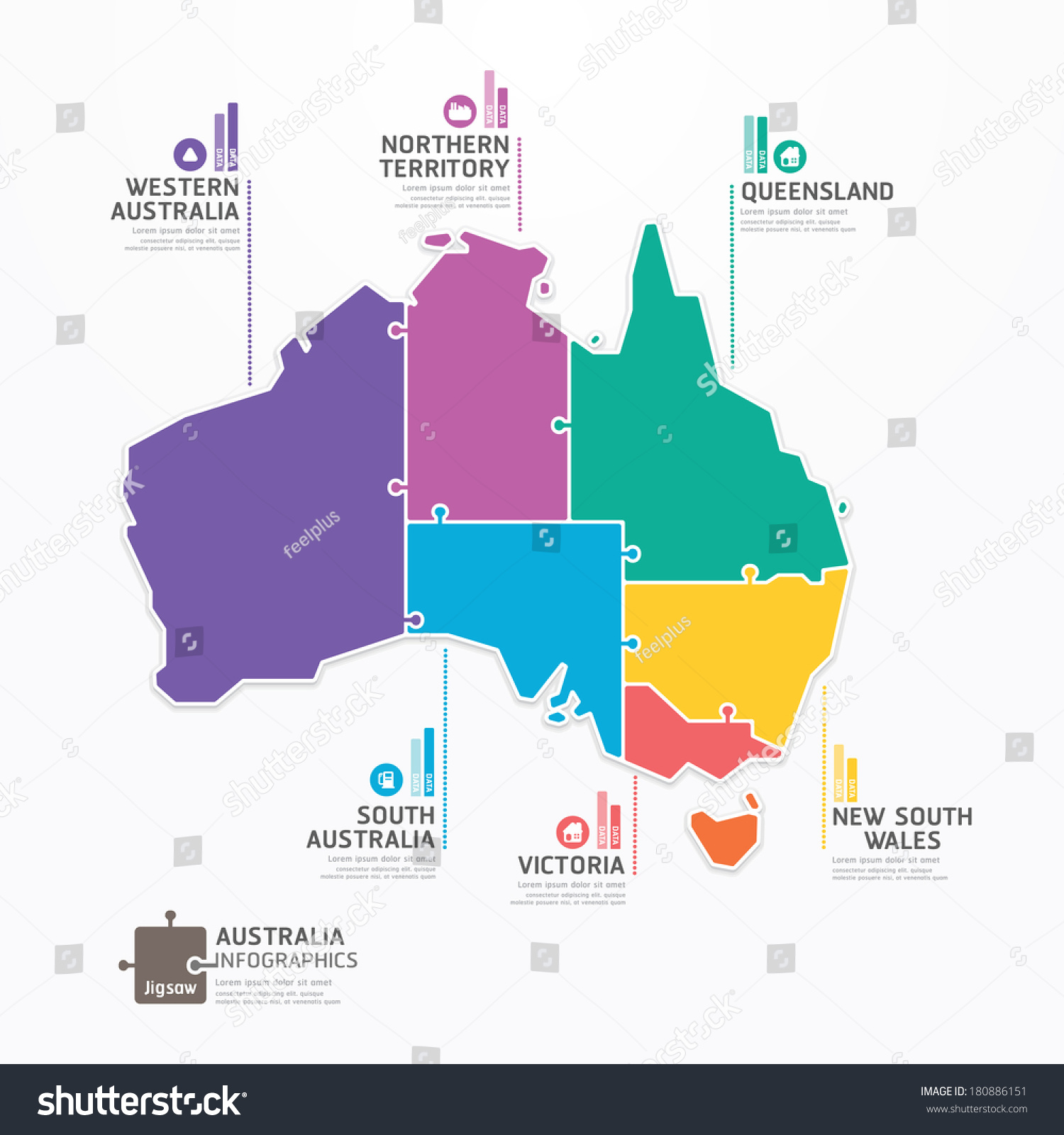 Australia Map Infographic Template Jigsaw Concept Banner