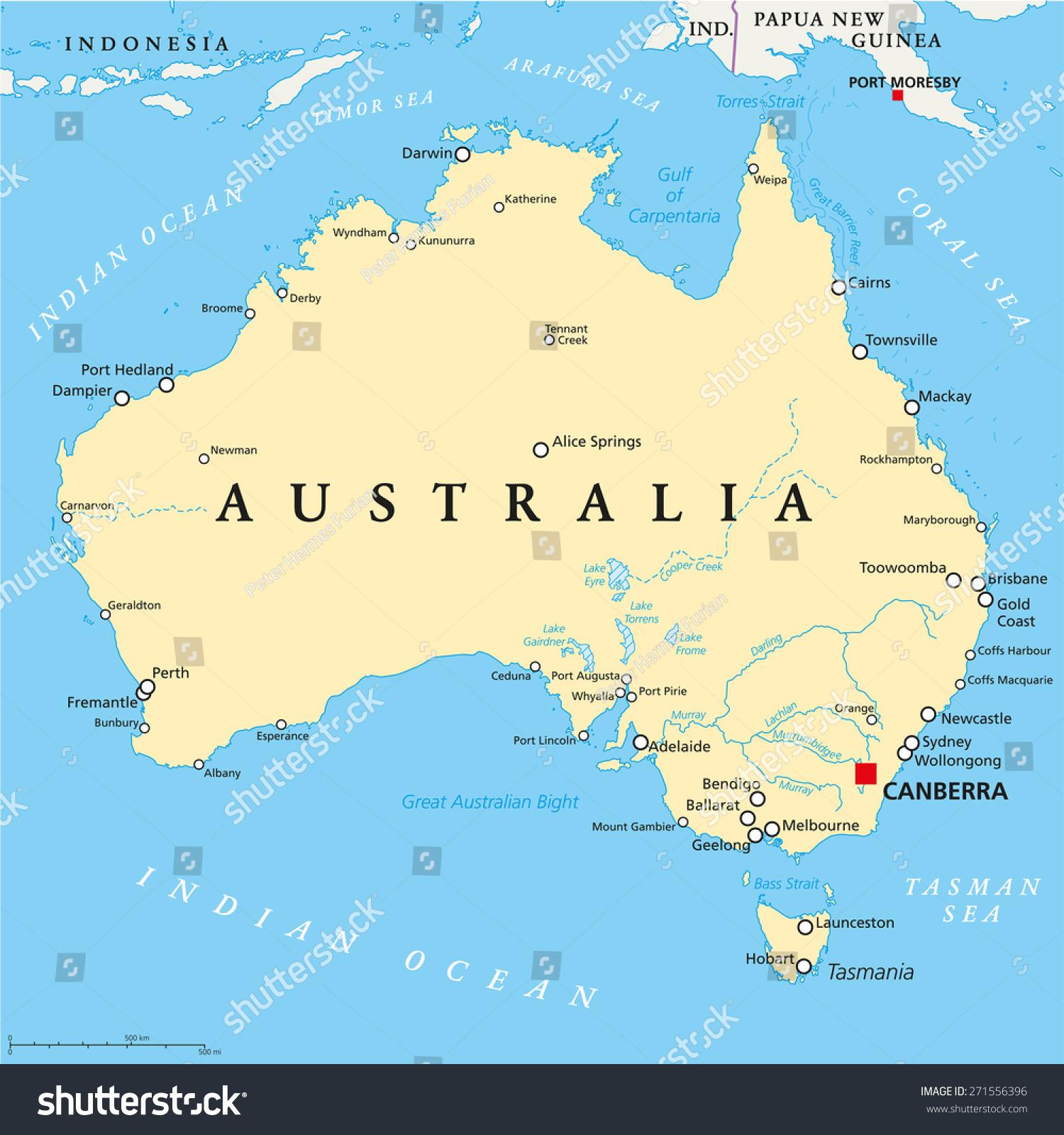 Australia Political Map Capital Canberra National Stock