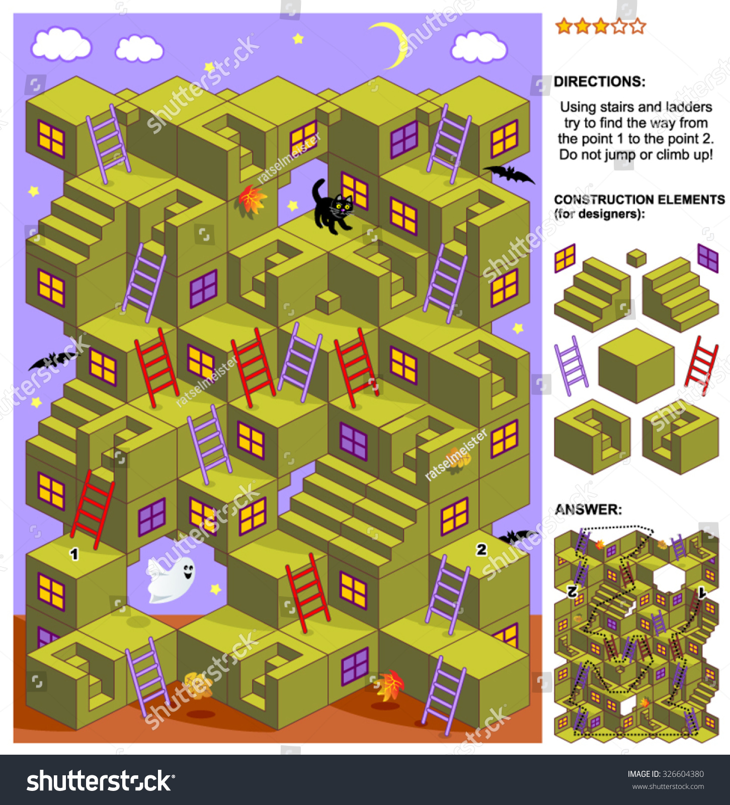Autumn Halloween Themed 3d Maze Game Stock Vector