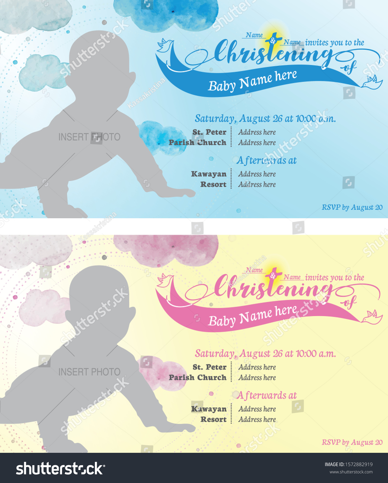 https www shutterstock com image vector baby boy girl christening invitation baptism 1572882919