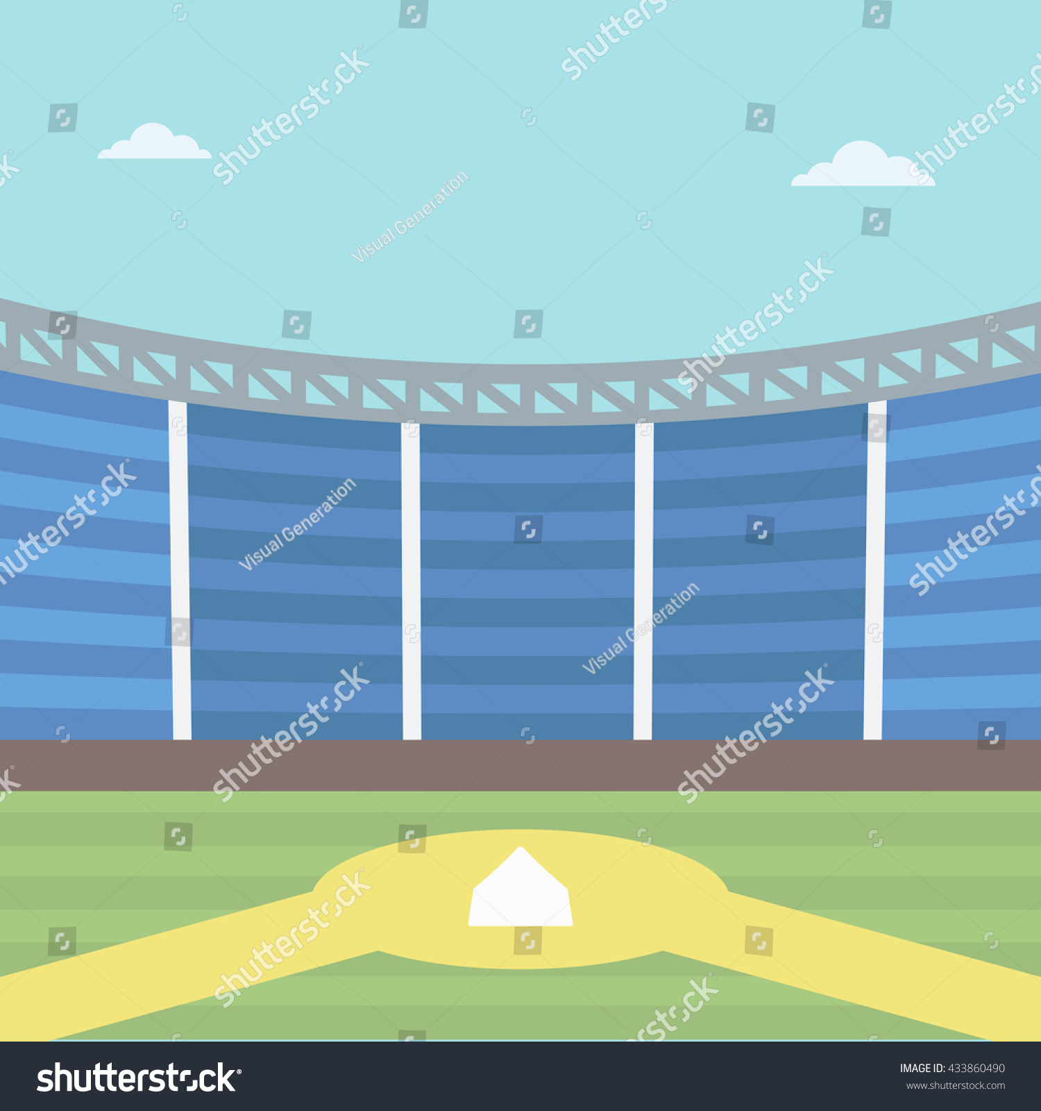 Background Baseball Stadium Baseball Field Vector Stock Vector