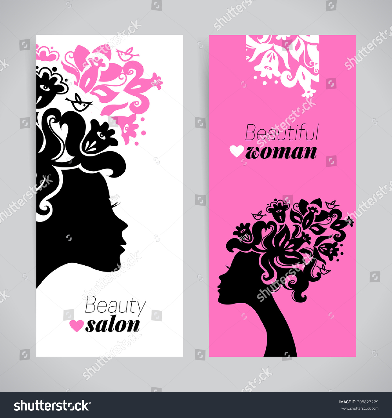 Banners Beautiful Women Silhouettes Flowers Beauty Stock