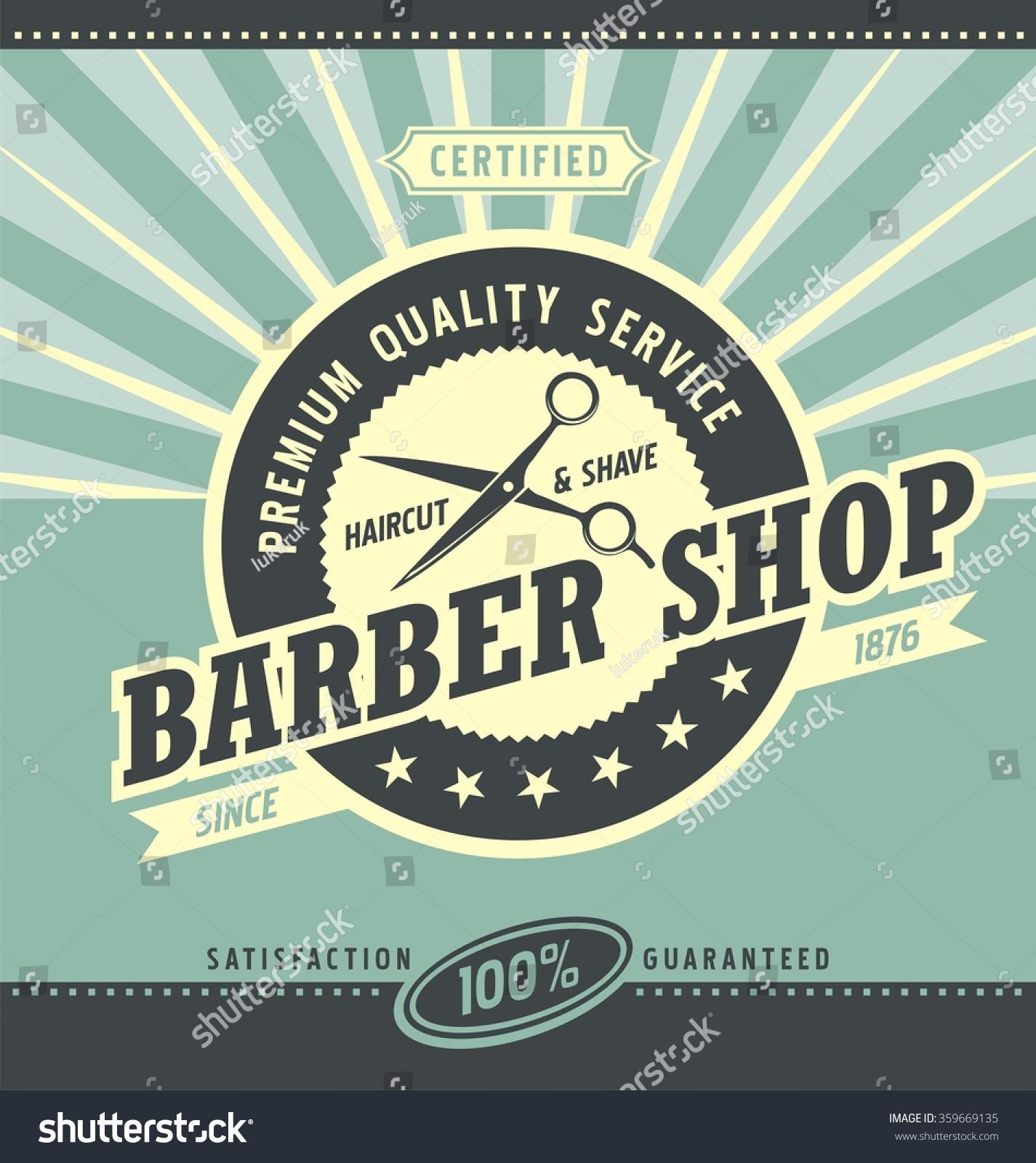 Barber Shop Retro Poster Design Template Stock Vector