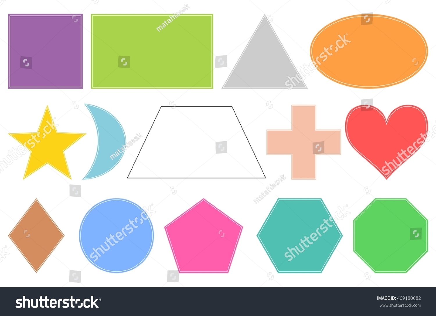 Basic Geometric Shapes Isolated Objects On Stock Vector