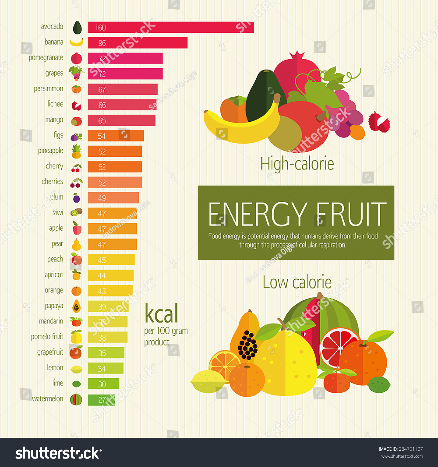 Basicstary Nutrition Chart Energy Density Stock Vector