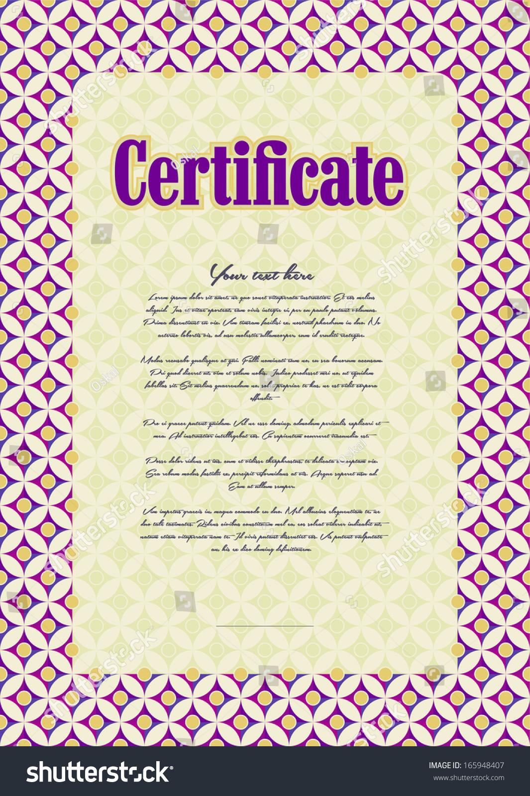 Basis Creating Certificate Diploma T Voucher Stock Vector