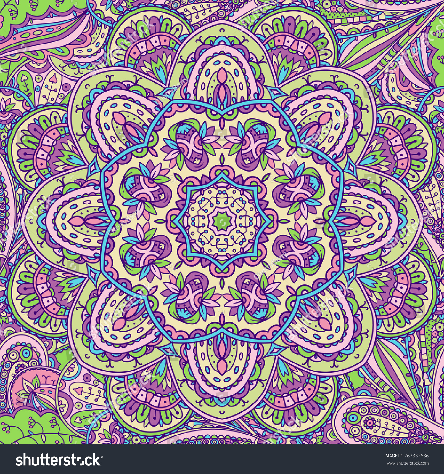 Beautiful Color Pattern Of The Indian Motifs Stock Vector