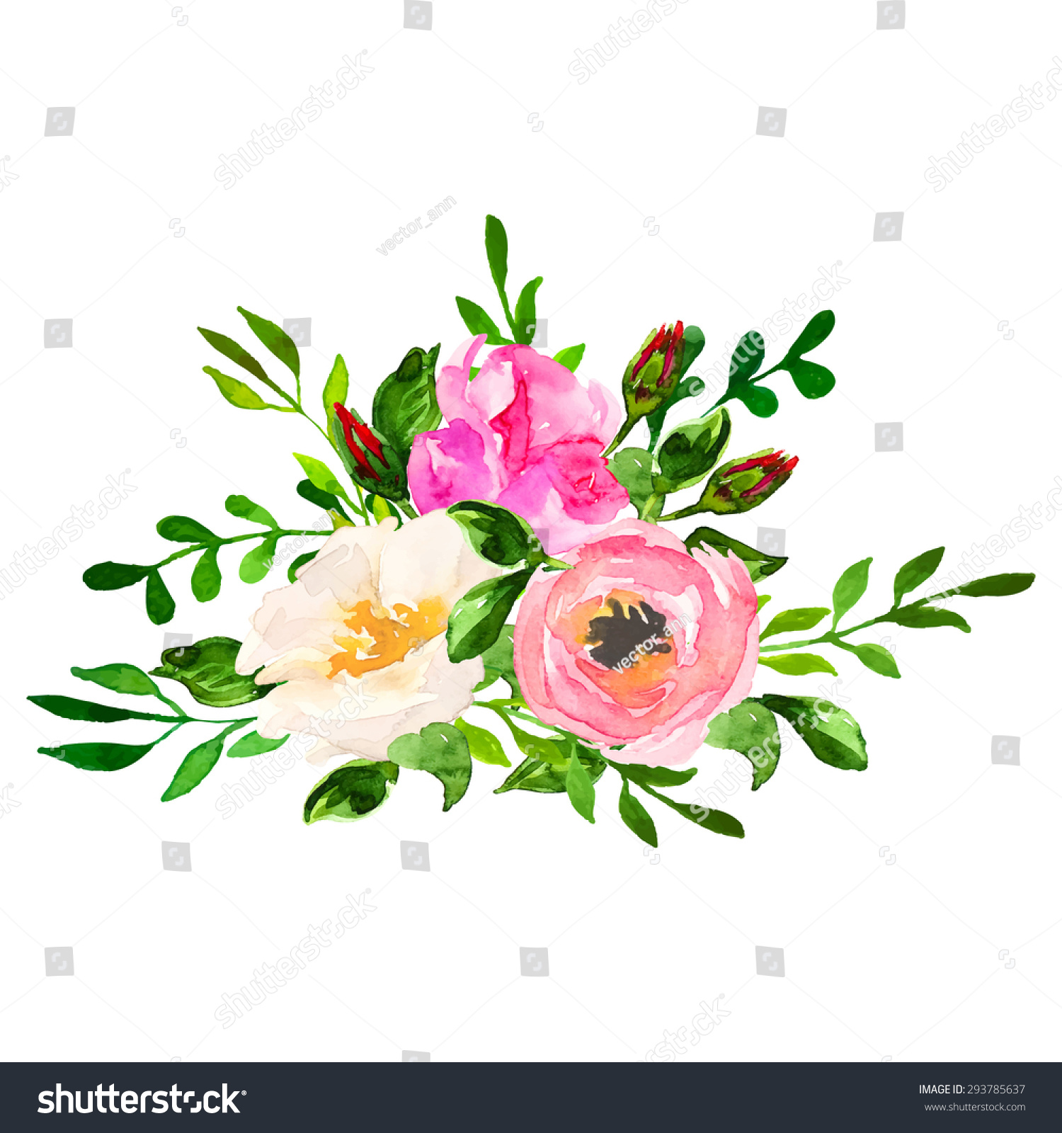 Beautiful Floral Hand Drawn Watercolor Bouquet Stock Vector 293785637 Shutterstock
