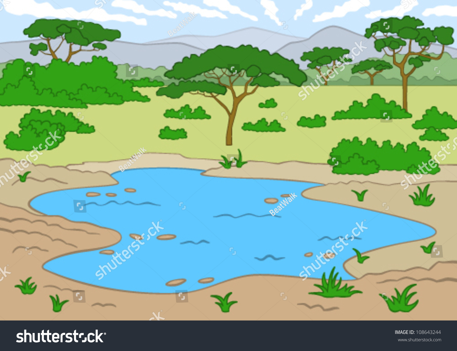 Beautiful Landscape Savannah Vector Illustration Stock