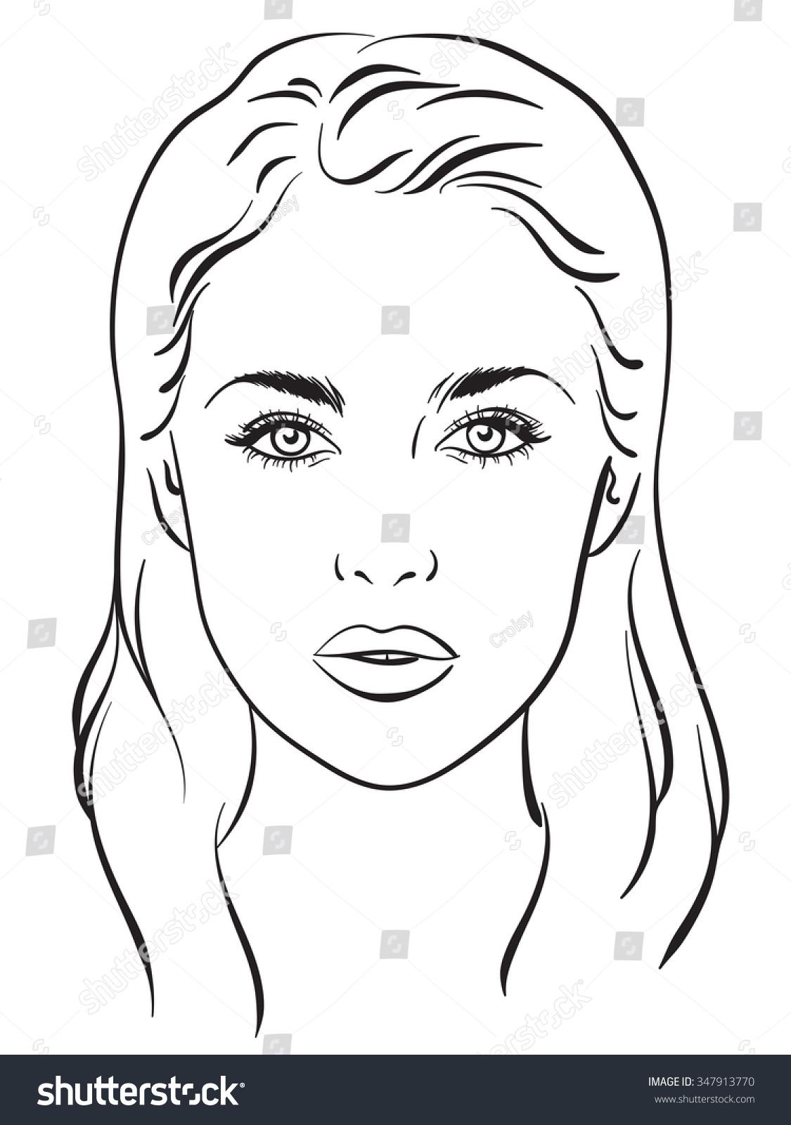 Beautiful Woman Portrait Face Chart Makeup Artist Blank
