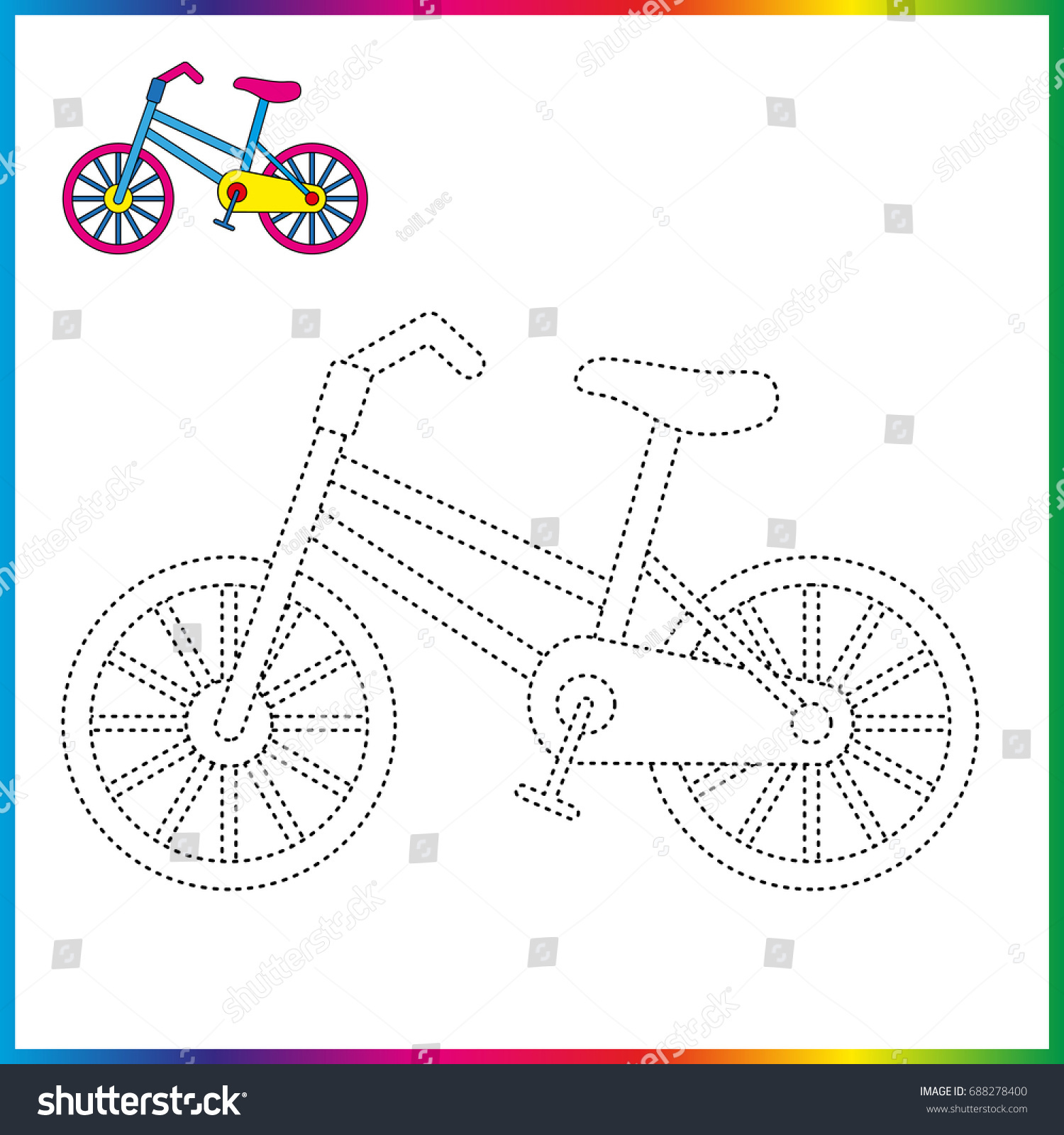 Bicycle Connect Dots Coloring Page Worksheet Stock Vector