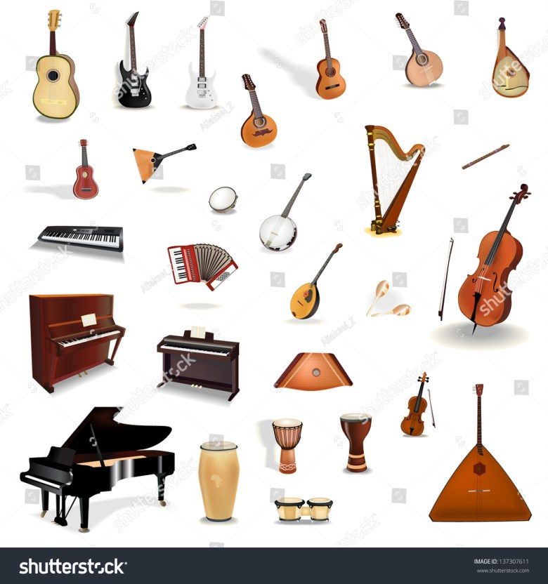 big collection vector music instruments stock-vektorgrafik