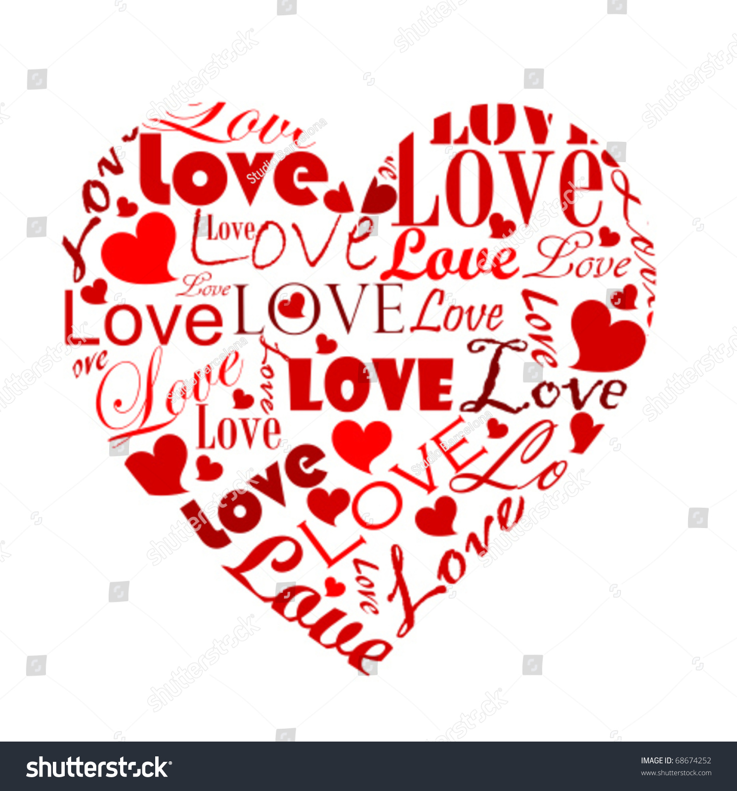 Big Heart Made Various Love Worlds Stock Vector