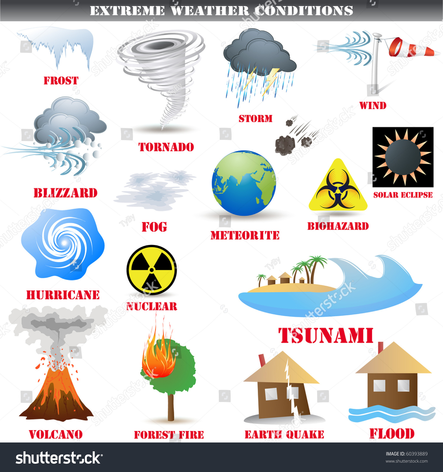 Big Set Extreme Weather Conditions Vector Stock Vector