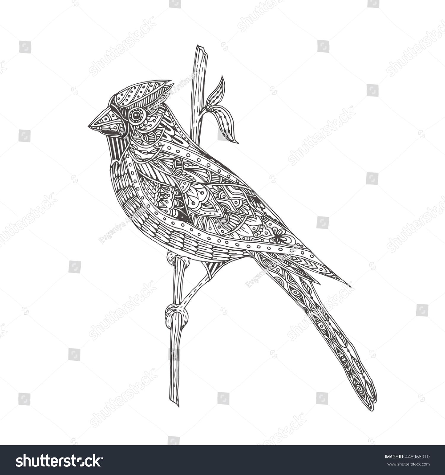 Bird Handdrawn Bird Cardinal Ethnic Doodle Stock Vector 448968910