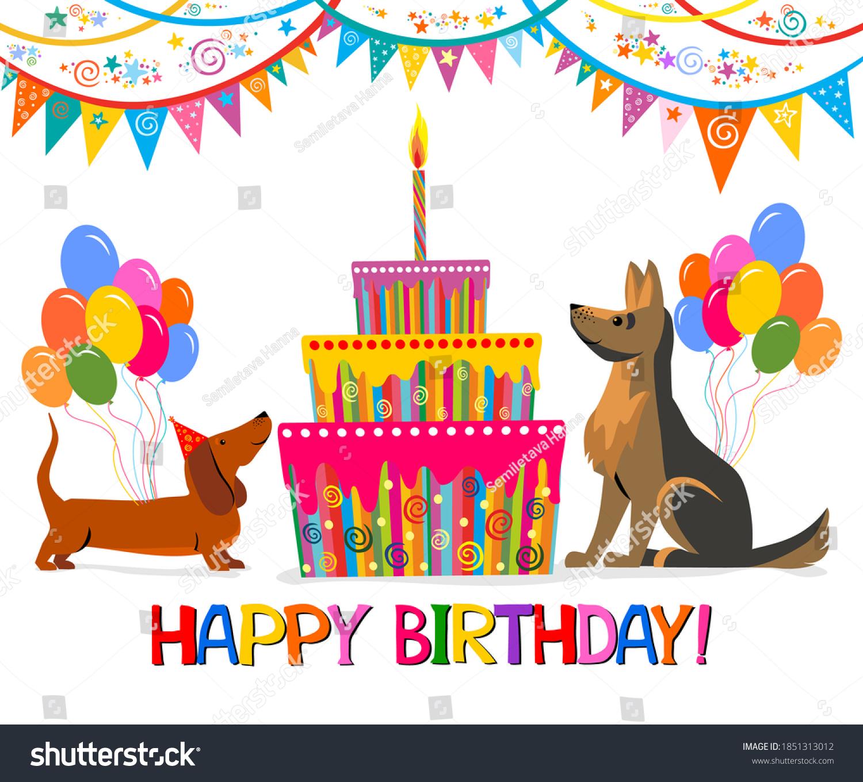 https www shutterstock com image vector birthday card celebration white background dachshund 1851313012