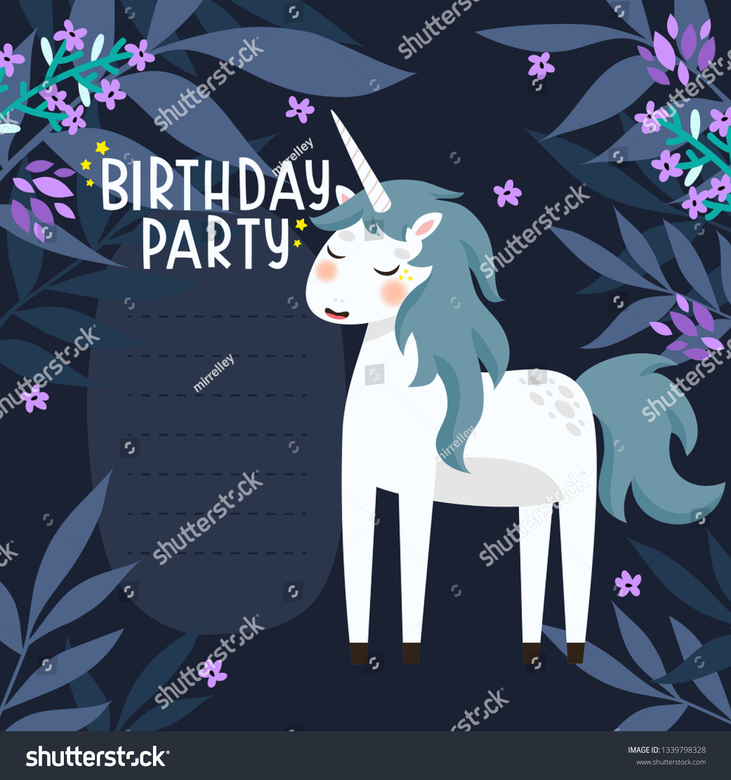 https www shutterstock com image vector birthday party invitation template cute cartoon 1339798328