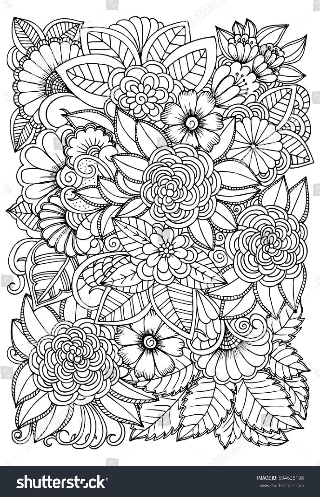 Black White Flower Pattern Coloring Doodle Vectores En Stock