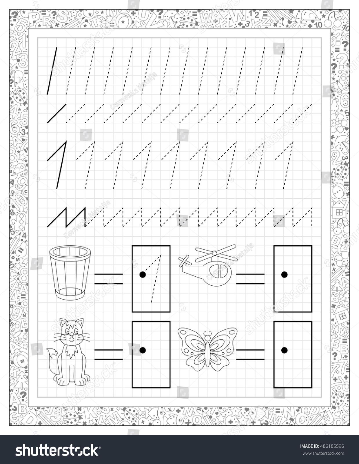 Black White Worksheet On Square Paper Stock Vector