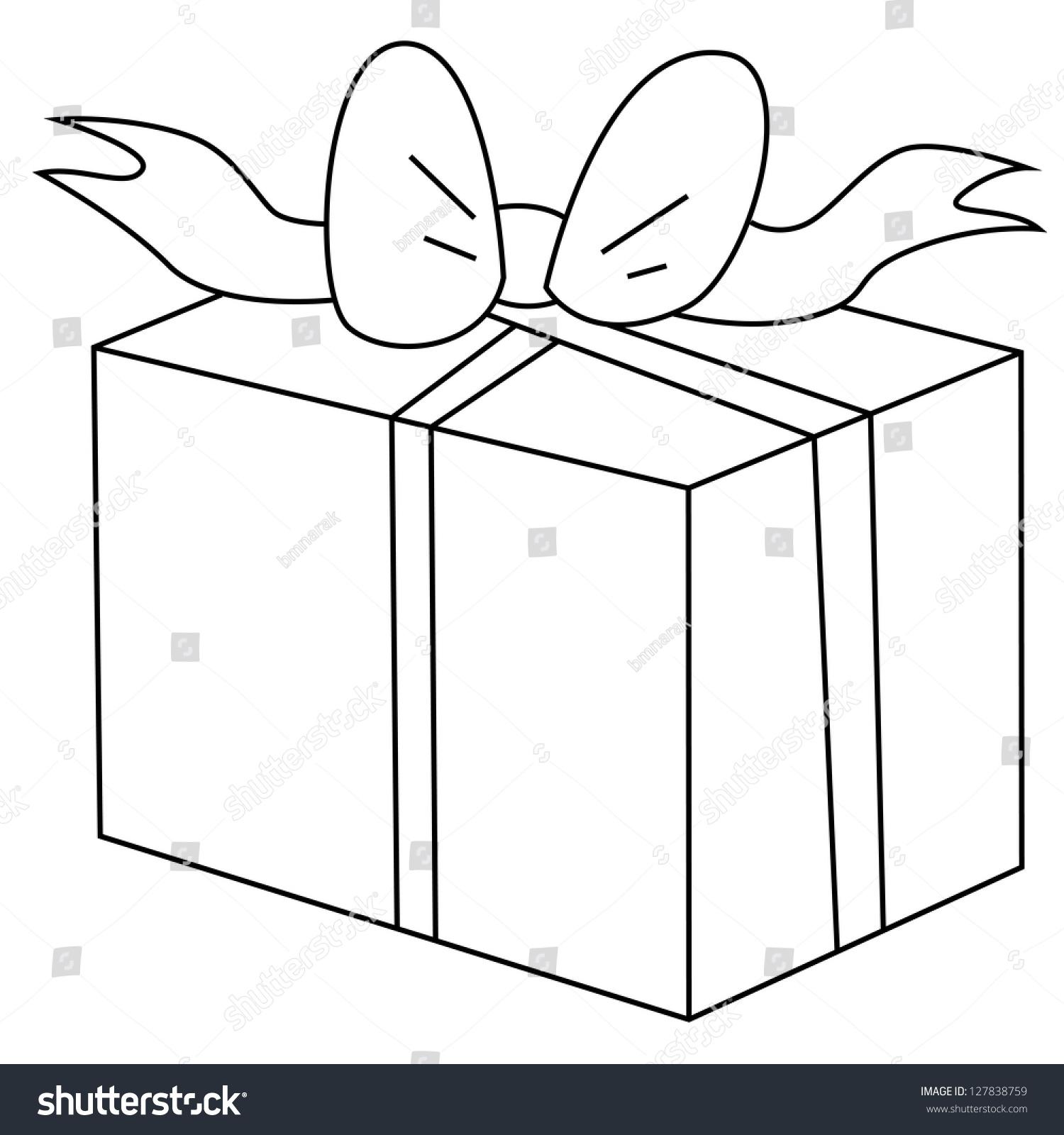 Black Outline Vector Gift Box On White Background
