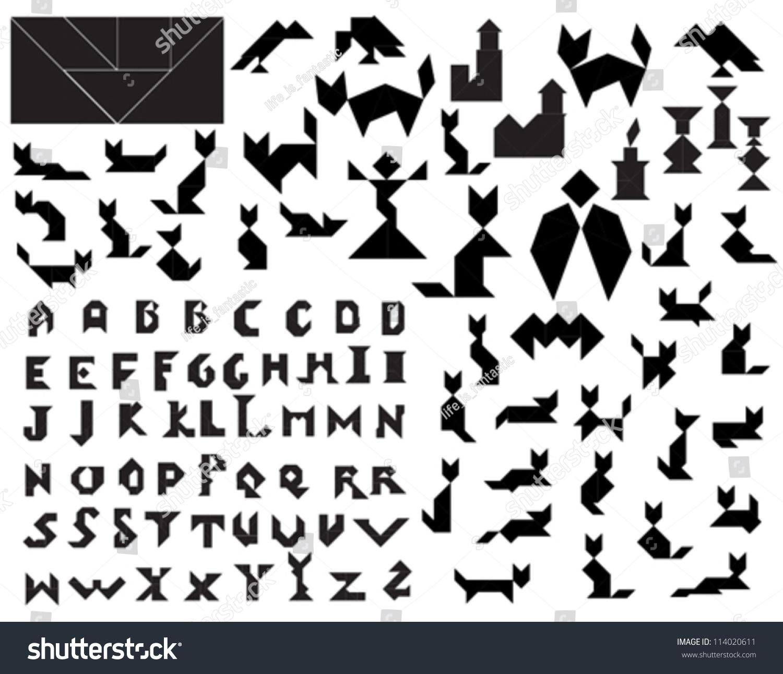 Black Vector Tangram Halloween Silhouettes Collection