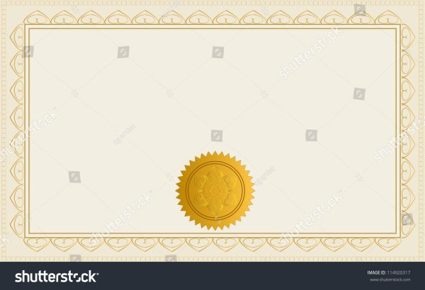 Blank Certificate Template Jpeg Version Available Stock ...