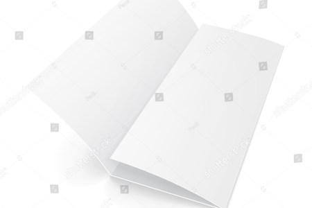 Blank Trifold Paper Brochure With Shadows  On White Background     ID  254850229