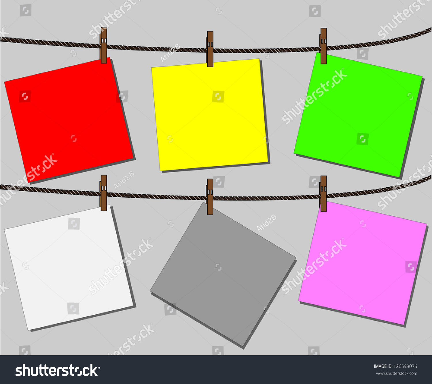 Blank Worksheet Color Note Paper Attached To A Clothesline