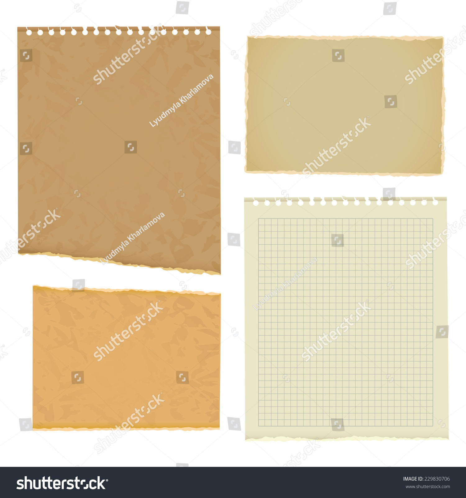 Blank Worksheet Exercise Book Old Thick Paper With Ragged