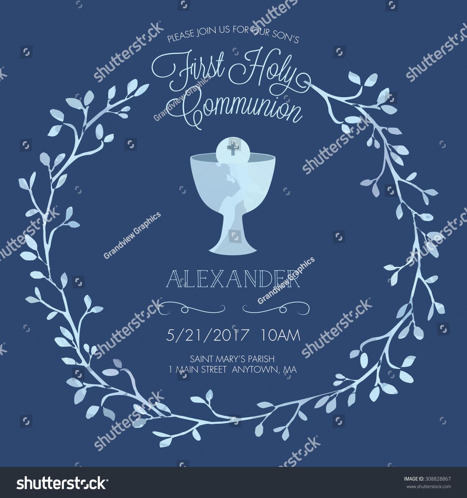 https www shutterstock com image vector blue boys first holy communion invitation 308828867
