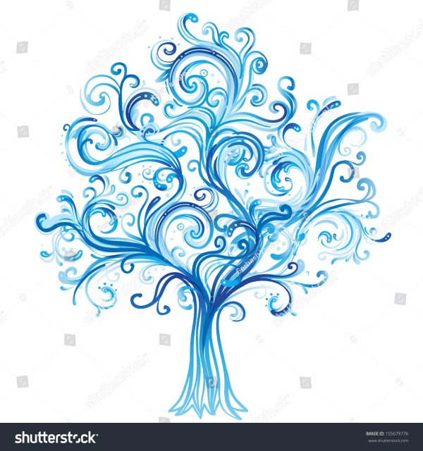 Blue Winter Tree Swirls Isolated On Stock Vector 155679776