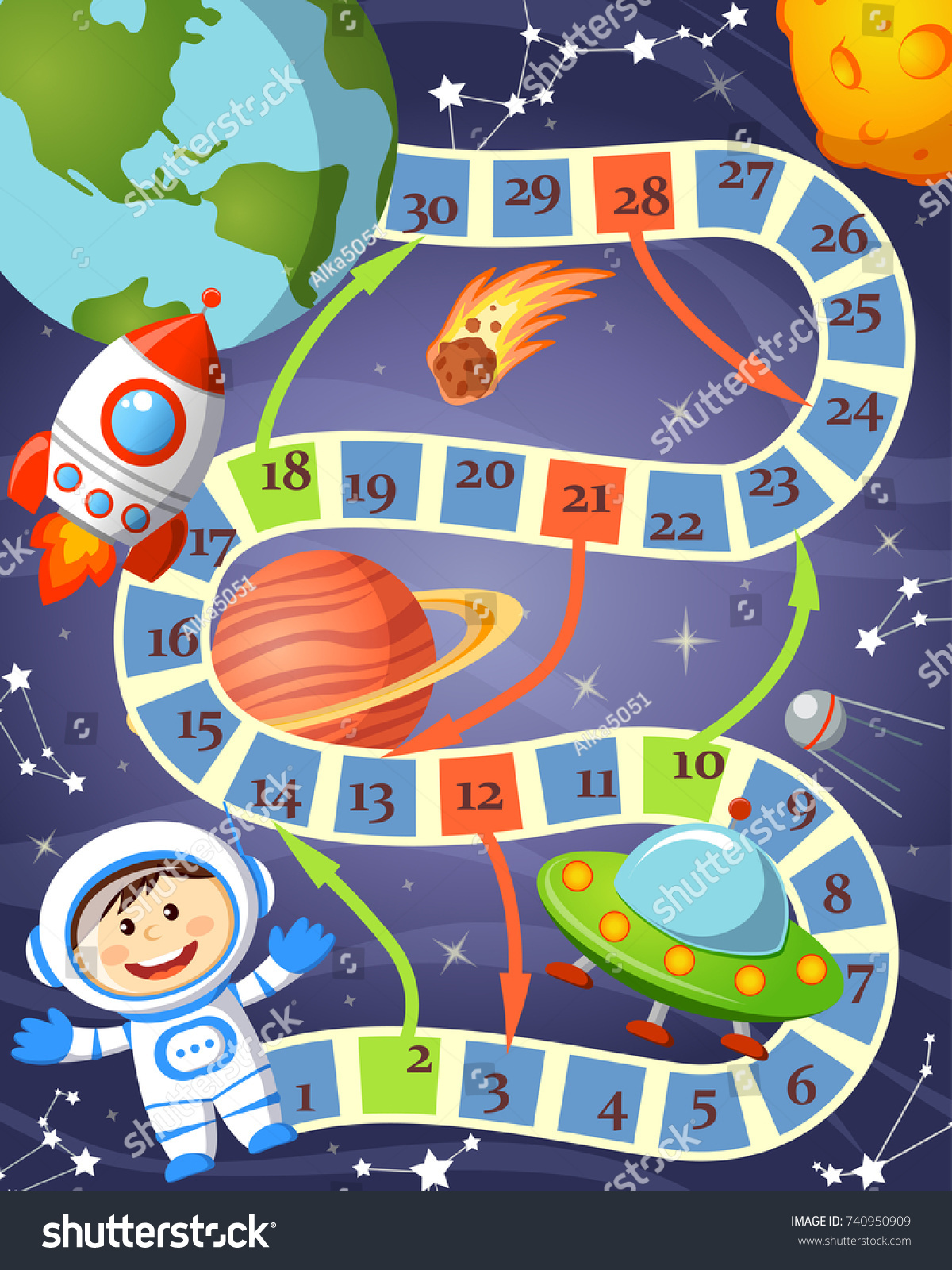 Board Game Cosmonaut Ufo Rocket Planet Stock Vector