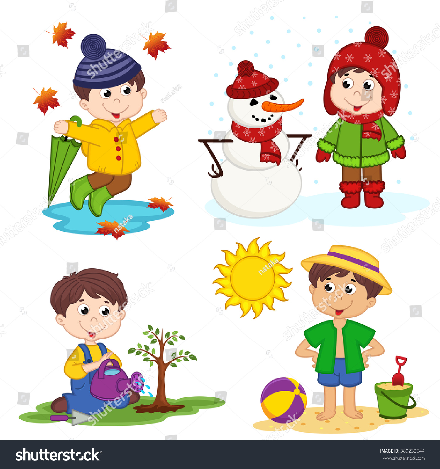 Boy Four Seasons Vector Illustration Eps Stock Vector