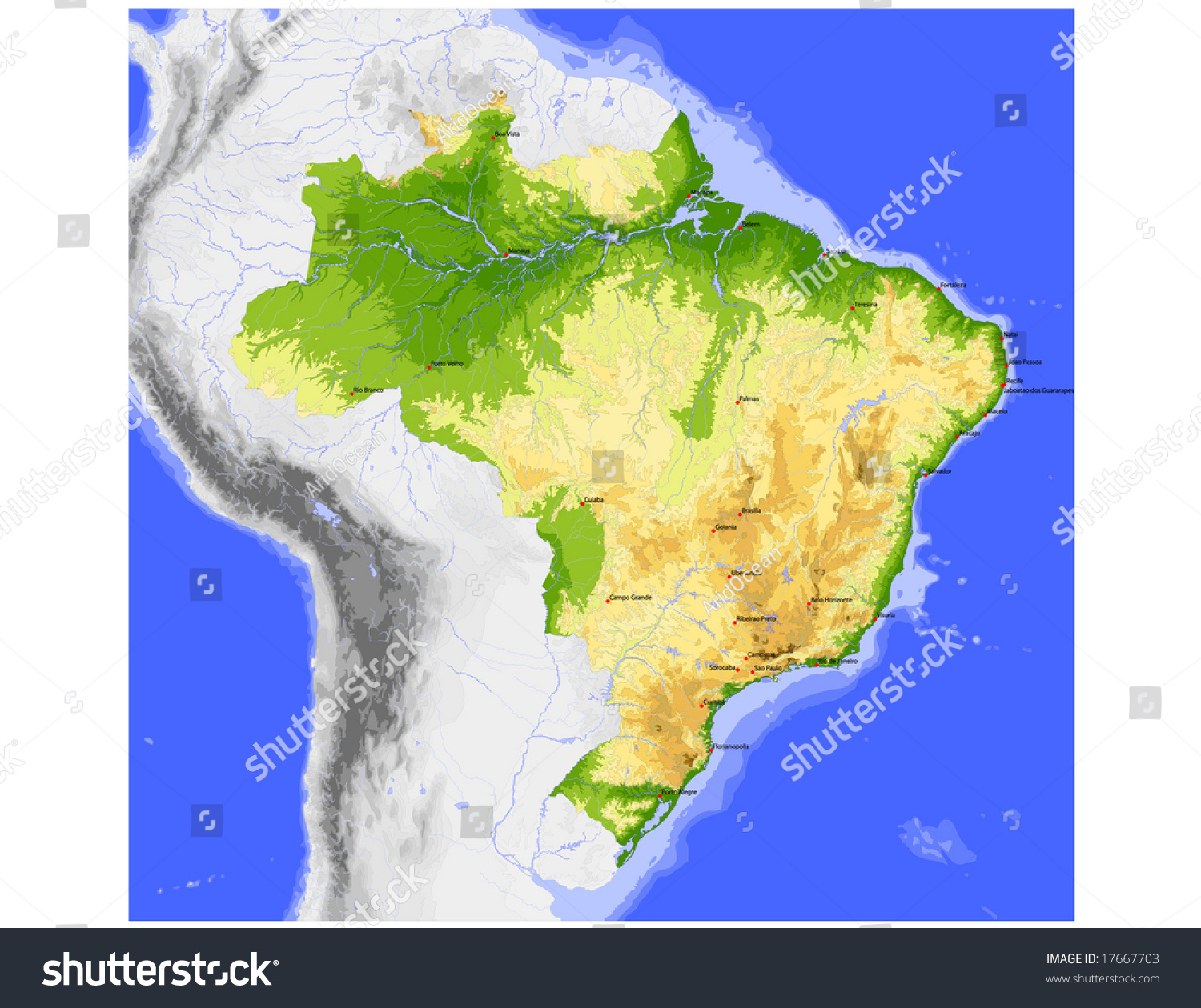Brazil Physical Vector Map Colored According Stock Vector