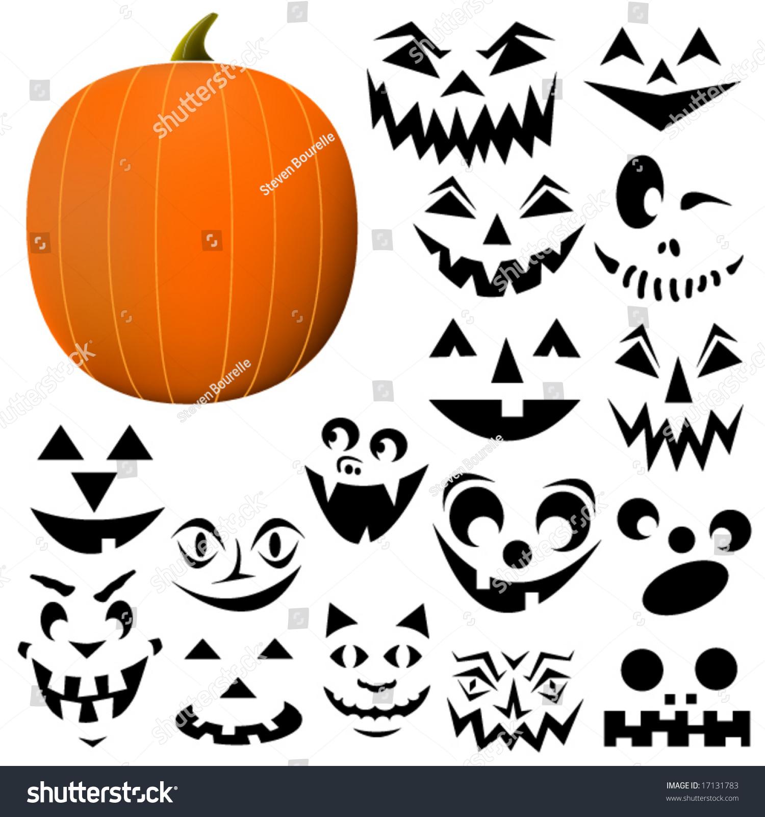 Build Your Own Jackolantern Pumpkin Face Stock Vector