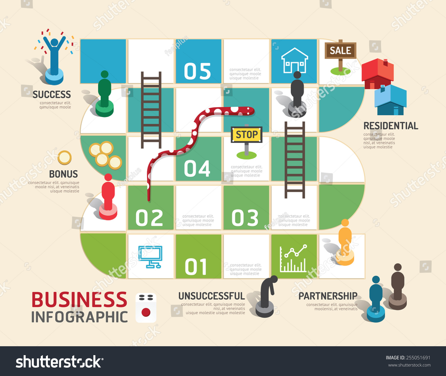 Business Board Game Concept Infographic Step To Success