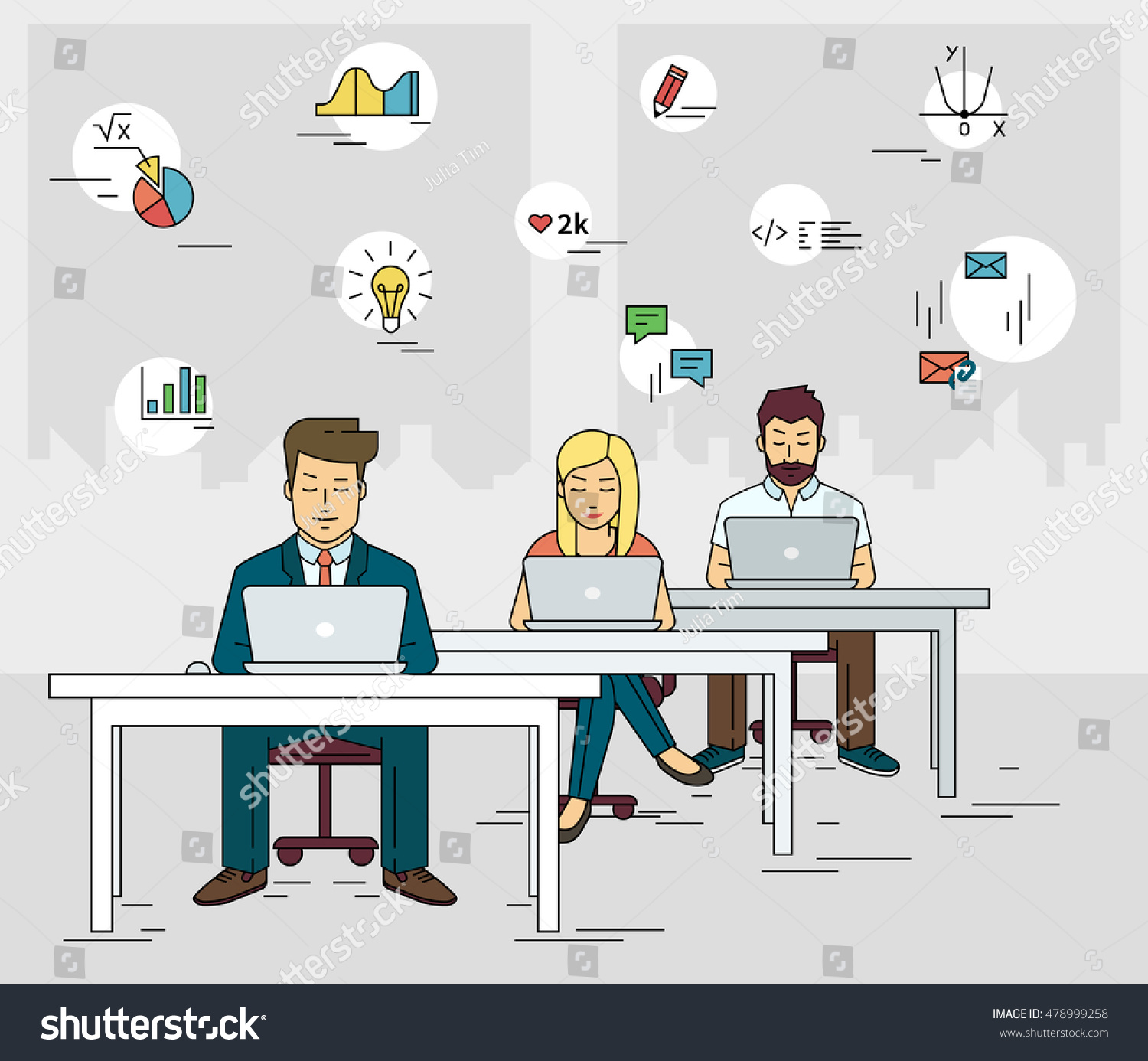 Busy Students Working Desk Learning Laptop Stock Vector