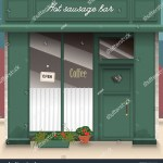 Vector De Stock Libre De Regalias Sobre Cafe Bar Facade Stylish Street Shop1089764948