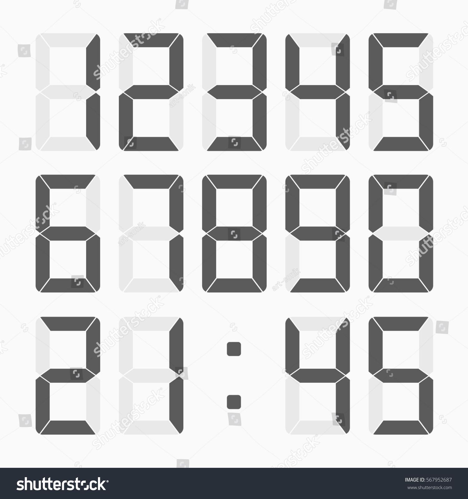 Calculator Digital Numbers Set Electronic Figures Stock