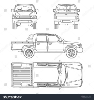 Car Pickup Truck Double Cab Vector Stock Vector 409541350