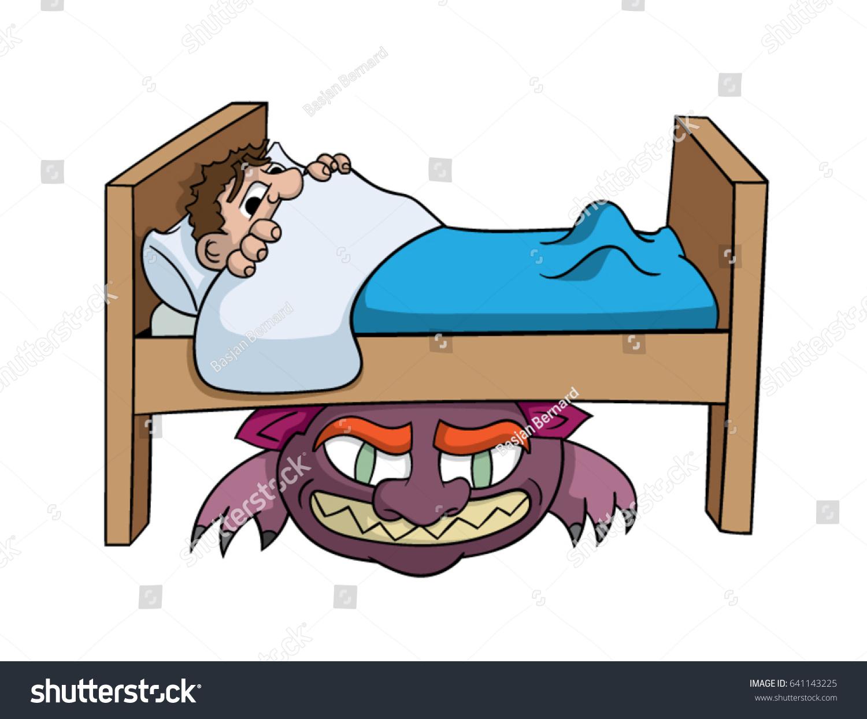 Cartoon Boy Afraid Monster Under Bed Stock Vector