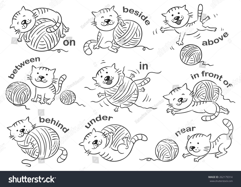 Cartoon Cat Different Poses Illustrate Prepositions Stock Vector