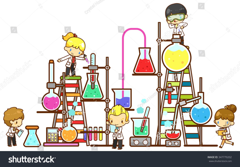 Cartoon Children Kid Student Studying Chemistry Stock